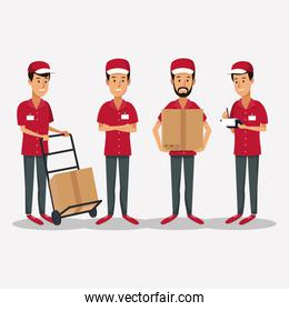 white background with group men worker with hand truck packages and orders