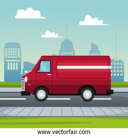 cartel city landscape with fast delivery truck of packages