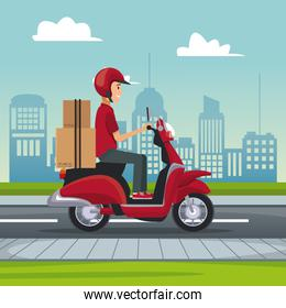 cartel of city landscape with fast delivery man scooter with packages
