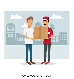 monochrome poster city landscape with men worker with packages and order to customer fast delivery