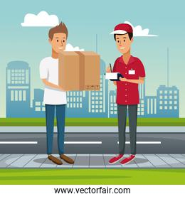 poster city landscape with men worker with packages and order to customer fast delivery