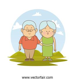 white background with color silhouette landscape with elderly couple embraced