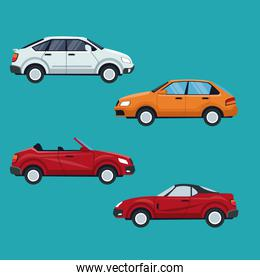 color background of set with modern car vehicle transport