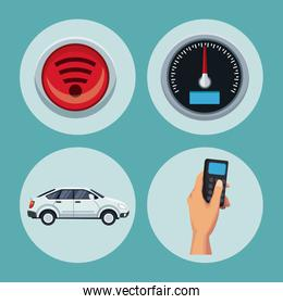 color background of circular frame set with car satellite search and tools