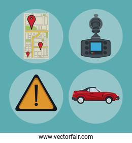 color background of circular frame set with elements car location gps