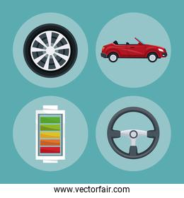 color background of circular frame set with elements car vehicle