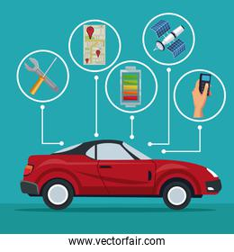 color background of red sport car vehicle with icons satellite search