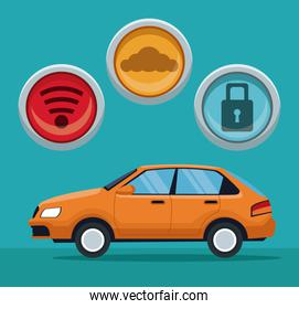 color background of classic car vehicle with button icons