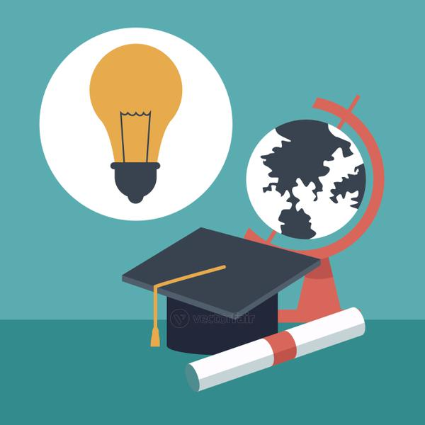 color background with closeup graduation cap and certificated with globe map and light bulb icon