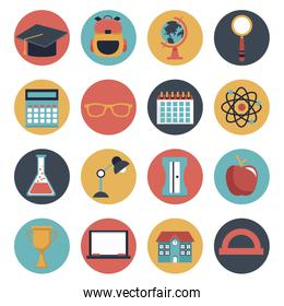 white background with set of colorful circular frame icons school elements