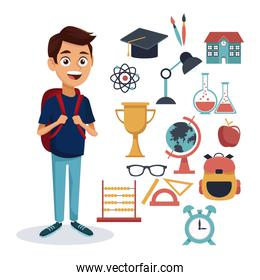 white background with colorful boy student standing full body with bag and set school elements