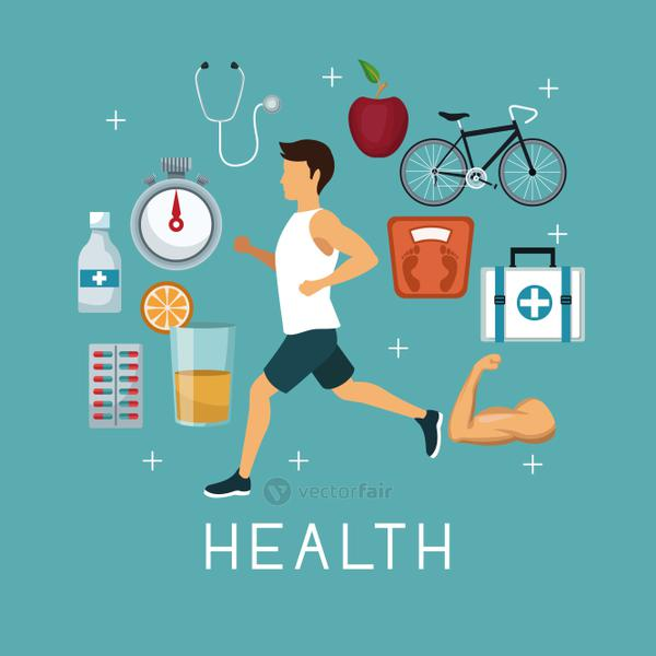 color background with sport man ruinning with icons of heath elements around