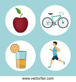 color background with circular frames of sport running and cycling healthy elements