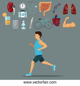 color background with set icons health elements and closeup full body sport man running