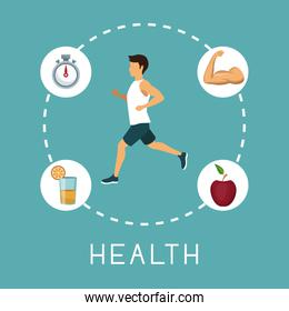 color background with sport man running in center with chronometer orange juice muscle arm and apple fruit around text health