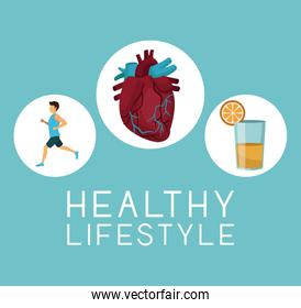 color background with icons circular frame of sport man ruinning with heart organ and orange juice text healthy lifestiyle