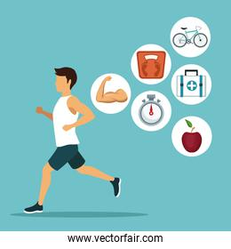 color background with closeup sport man ruinning with icons circular frame healthy lifestiyle