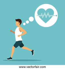color background with sport man running with icons frame of silhouette heartbeat
