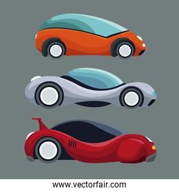 gray background of colorful set futuristic modern car vehicles
