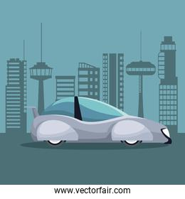 futuristic city landscape silhouette with colorful white modern car vehicle
