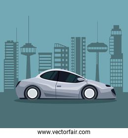 futuristic city landscape silhouette with colorful modern gray car vehicle