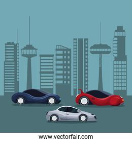 futuristic city landscape silhouette with colorful set of sport and modern cars