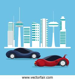 futuristic city landscape silhouette with colorful set of sport vehicles