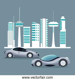 futuristic city landscape silhouette with colorful set of modern vehicles