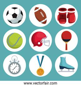 color background with icons in circular frame of elements sport
