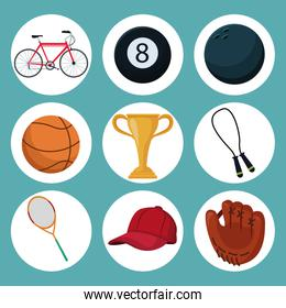 color background with set icons in circular frame of elements sport