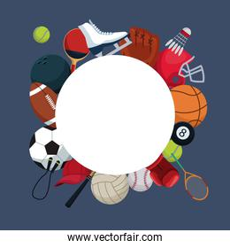 color background with circular frame and icons elements sport around