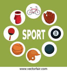 color background with circular frames and icons elements around text sport