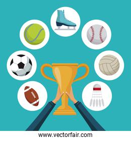 color background with hands holding a golden trophy cup with icons elements sport in circular frames around