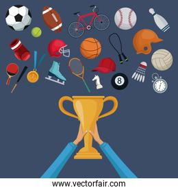 color background with hands holding a golden trophy cup and set collection elements sport