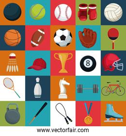 colorful square background with set collection elements sport