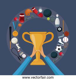 color background with hands holding a golden trophy cup with circular border around with icons elements sport