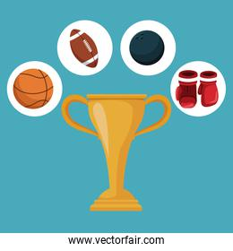 color background with golden trophy cup and circular frames with icons elements sport