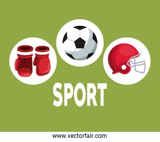 color background with circular frames with boxing gloves helmet american football and soccer ball icons elements sport
