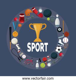 color background with golden trophy cup in center with circular border around with icons elements sport