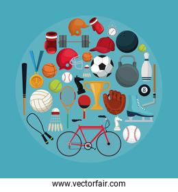 color background with circular frame of set collection elements sport