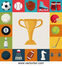 colorful square background with set collection elements sport with cup trophy in center