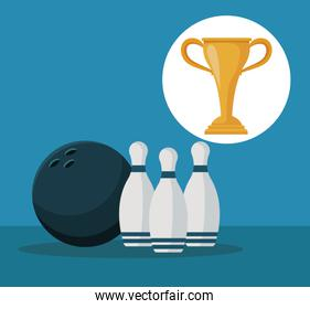 color background with elements bowling ball and pins with circular frame cup trophy