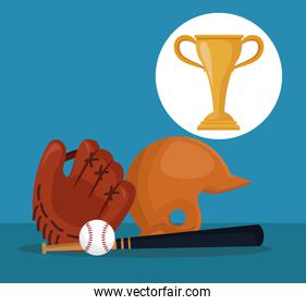 color background with elements baseball sport with circular frame cup trophy