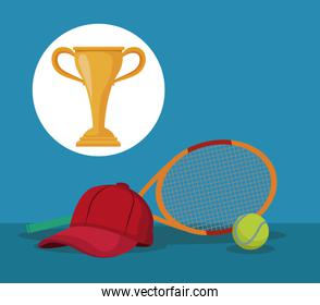 color background with elements tennis sport with circular frame cup trophy