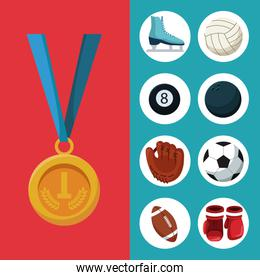 color background with golden medal first place and banner of set elements sports