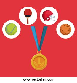 color background with golden medal first place and icons of elements sports