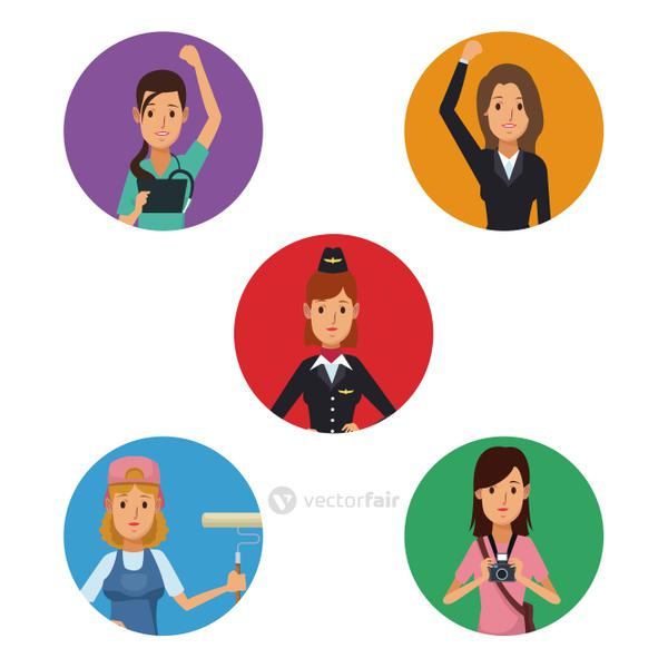 white background with colorful circular frame icons group female people of different professions