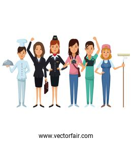 white background with group female people of different professions