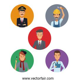 white background with colorful circular frame icons group male people of different professions