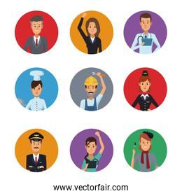 white background with colorful circular frame icons group people of different professions